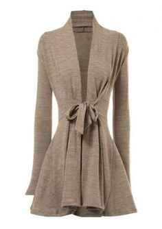 Solid Front Tie Long Sleeve Cardigan