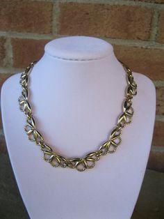Monet Gold Tone Necklace Vintage by GotMilkGlassAndMore on Etsy, $11.88