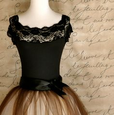 Black lace cap sleeve leotard. Matches many tutu tulle skirts at TutusChic. Ready to ship in large.. $68.00, via Etsy.