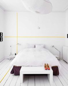What a cool idea! The yellow paint stripe!     Fine Lines: Simple Details That Make a Room Renters Solutions