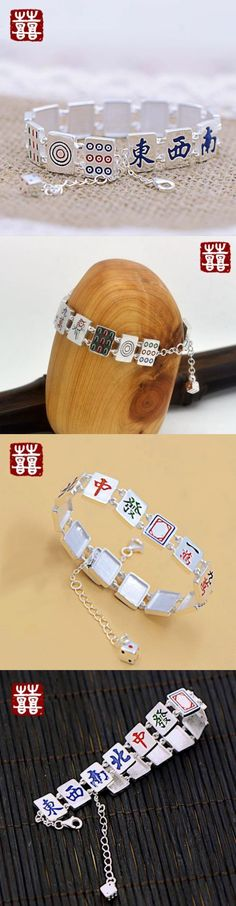 Bracelets 98509: New Women Jewelry Mahjong Tiles Lucky Fun 925 Sterling Silver Bracelet Free Gift -> BUY IT NOW ONLY: $69 on eBay!