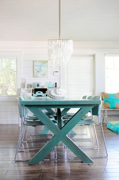 beachy dining room beadboard ceiling, linear dining room light ...