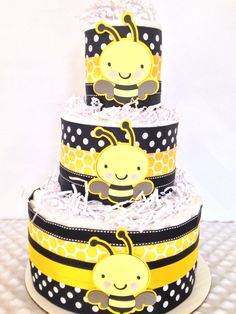Designer Bumble Bee Baby Shower Diaper Cake, Bee Theme Baby Shower Centerpiece, What will it Bee Reveal Decoration by AllDiaperCakes on Etsy