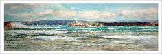 Acuarela de una marina de la isla de Mouro en Santander. Vista de esta isla que se puede divisar desde Santander en un cuadro realizado por Rubén de Luis