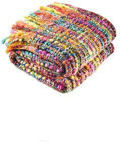 Soft woven rainbow throw, 125 X 150CM