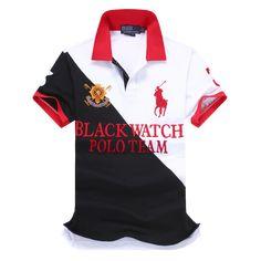 a03ba08a11e7 Ralph Lauren Man Custom Fit Black Watch Polo Shirt Team Crest Red Polo  Ralph Lauren