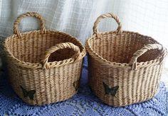 Купить Набор корзиночек Симпатия - бежевый, Плетеная корзинка, корзинка с ручками, необычная форма