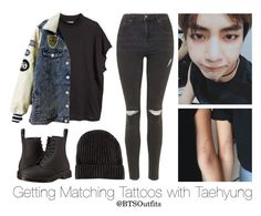 Getting Matching Tattoos with Taehyung by btsoutfits on Polyvore featuring H&M, Topshop and Dr. Martens
