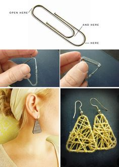 Super Easy Earrings Made of Paper Clips and String 50 Tiny And Adorable DIY Stocking Stuffers Wire Jewelry, Jewelry Crafts, Handmade Jewelry, Jewellery, Tassel Jewelry, Paper Jewelry, Silver Jewelry, Diy Stockings, Diy Schmuck