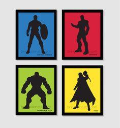 Superheroes Marvel DC Comics Avengers Justice League Silhouette Set of 4 Wall Art Prints 8X10 boys bedroom or home decor - etsy
