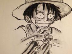 Meine erste #Zeichnung mit #Kohle:-) my first #drawing with #cole :-) my primer #dibujo con #carbon :-)  #monkeydluffy #onepiece #manga