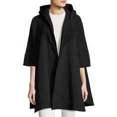 Burberry Lace-Trim Hooded Poncho (74,600 PHP) ❤ liked on Polyvore featuring outerwear, black, hooded cape coat, hooded poncho, poncho cape, style poncho and cape poncho