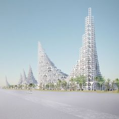Sou Fujimoto has released images of a conceptual masterplan for the city of Doha, comprising tapering towers of stacked arches cooled by waterfalls.