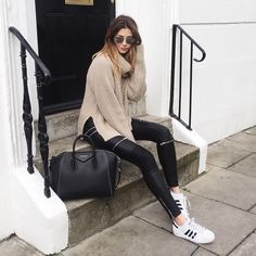 Givenchy Antigona, leather biker trousers, Adidas superstar trainers, chunky knitwear, casual weekend outfit