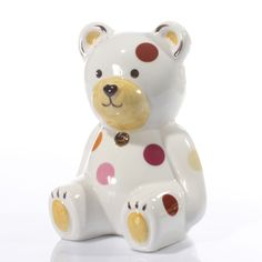 Personalised Teddy Bear Money Box Our teddy moneybox.With hand painted details and stitching in enamel colour and name and date in gol http://www.comparestoreprices.co.uk/christening-gifts/personalised-teddy-bear-money-box.asp