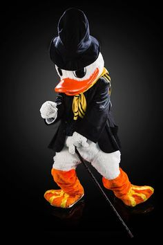 Puddles Oregon Ducks Mascot modeling one of his many game day theme outfits.
