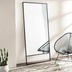 Zaldana Modern Black 35 x Leaning Mirror - 35 Industrial Mirrors, Bedroom Decor, Wall Decor, Mirror Shapes, Living Room Mirrors, Large Bedroom Mirror, Full Length Mirror In Bedroom, Burke Decor, My New Room