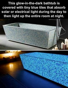 Glow in the dark solar bathtub