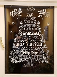 Window picture drawn with chalk pen. Source: https: //www.de/profissimo-fens … - Home Page Chalk Art Christmas, Noel Christmas, Christmas Balls, Christmas Crafts, Christmas Window Decorations, Tree Decorations, Holiday Decor, Chalk Pens, Window Art