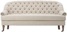Restoration Tufted Sofa with Nailheads,  Hardware Casters & Oak Legs #Unbranded