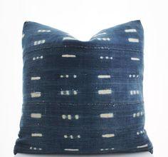 African Indigo Mudcloth Boho Pillow Cover Vintage by BohoPillow