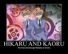 Hikaru and Kaoru. Fred and George. Both sets have red hair and are mischievous. One set is rich, with no magic and one set isn't rich, with magic.