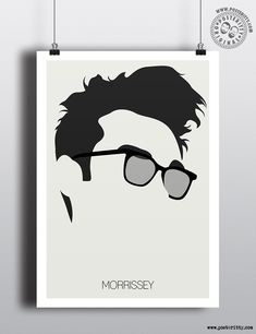 Morrissey (The Smiths) Minimalist Music Icons Poster by Posteritty #MinimalistHair #MinimalistMusicians #HairSilhouettes #PosterittyStyle #Morrissey