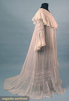 """Belle epoque trained peignoir; cotton lawn lavishly inset with Valenciennes lace, bell sleeves, large shawl collar, Front L, 55"""", Back L 63"""""""