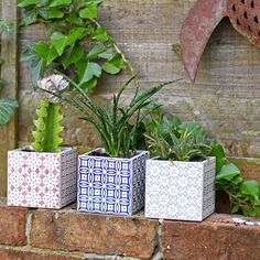 "Gorgeous Simple 10 Minute Moroccan Tile Planters - ""I was wandering around my local tile shop when I spotted some gorgeous Moroccan style tiles. The samples were only each so I bought a few. Moroccan Lanterns, Moroccan Tiles, Moroccan Decor, Moroccan Bedroom, Moroccan Garden, Garden Tiles, Tile Crafts, Square Planters, Tadelakt"