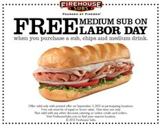 Second sub sandwich free with your combo Monday at Firehouse Subs coupon via The Coupons App