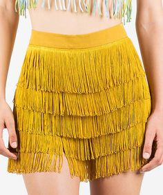 Loving this Mustard Fringe High-Waist Claire Shorts on #zulily! #zulilyfinds