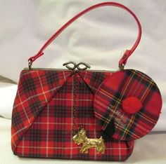 Vintage Childs Tartan Purse with tam Coin Purse