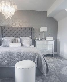 Available in Crush Velvet, Chenille, Linen or Faux Suede Fabrics - Esupasaver Cute Bedroom Ideas, Cute Room Decor, Room Ideas Bedroom, Home Bedroom, Master Bedroom, Grey Bedroom Decor, Stylish Bedroom, Grey Bedroom Design, Bedroom Inspo Grey