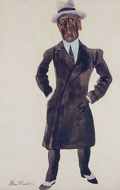 By Ben Shahn (1898-1969), 1935, Alfred P. Sloan, Jr., President of General Motors, Black ink and gouache on paper.