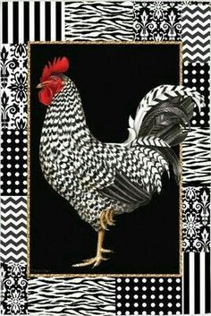 Diamond Mosaic Chicken Diy Diamond Embroidery princess S Rooster Painting, Rooster Art, Red Rooster, Chicken Painting, Chicken Art, Zentangle, Arte Do Galo, Black And White Chickens, Chicken Pictures