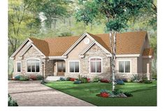 We love this plan's beautiful exterior, adorned with stone and shingles. Inside, the layout is open and easy. Click to see the floor plan for design HWEPL12330.