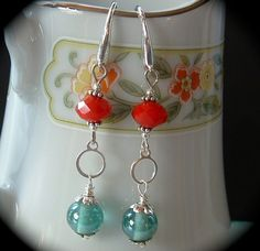 Blue Red and Silver Earrings handmade by practicallyfrivolous, $25.00