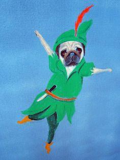 "Pug Dog Art Print/""Pugger Pan""/Disney/by Original Mike Holzer Scary Animals, Cute Animals, Raza Pug, Amor Pug, Pug Art, Cute Pugs, Funny Pugs, Funny Tattoos, Pet Costumes"
