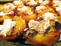 Grilled peaches with honey and goat cheese.