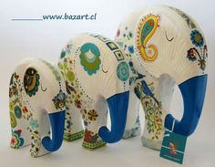 Elefante Elefante Hindu, Paper Mache Projects, Elephant Home Decor, Elephant Love, Ganesh, Cool Patterns, Elephants, Stoneware, Decoupage