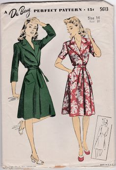 40s Beach Brunch Coat Dress Notched Collar A Line Miss Size 14 Bust 32 Vintage Sewing Pattern DuBarry 5613 Complete FF