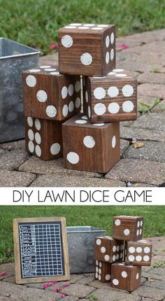 Turn untreated 4x4 lumber into a fun lawn dice game. Use a 5 gallon paint bucket…