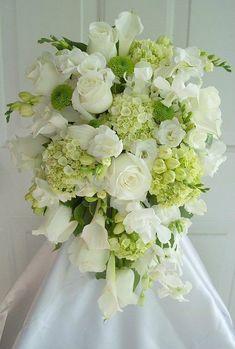 Teardrop/Cascading Wedding Bouquet: White Calla Lilies, White Freesia, White Roses, Green Hydrangea, Green Kermit Mums
