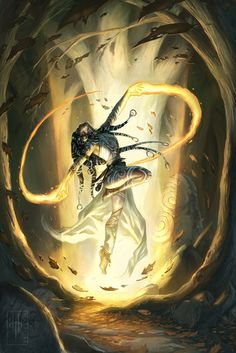 Rousha Ar-adasha, human mage (mainly the body, fire and spirit lores) from the Harkoro plain, performing a incantation dance in the Verija forest.
