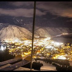 A different view of #jacksonhole - night skiing from the top of Snow King.  Re-gram from @earlyups - @jacksonholemtnrst- #webstagram