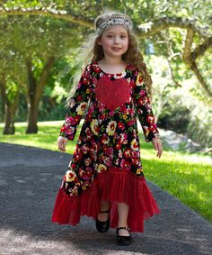 Loving this Red Floral Lace H-Low Dress - Toddler & Girls on #zulily! #zulilyfinds