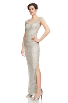 Elegant cap sleeve sequin gown. Prom dress. From KAY UNGER