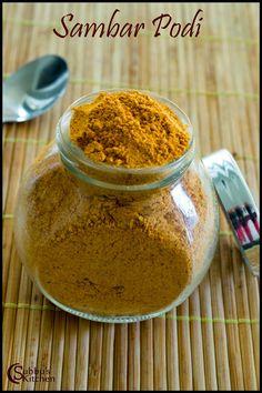 Homemade Sambar Podi / Sambar Powder is a very handy ingredient for any South Indian Kitchen. We use Sambar powder to make Sambar and also we use it as a spice powder for many poriyal varieties. Sambhar Recipe, Podi Recipe, Masala Recipe, Prawn Dishes, Instant Recipes, Indian Kitchen, Spice Mixes, Curry Recipes, Nutrition Tips