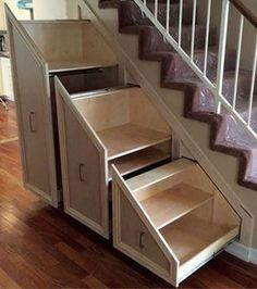 5 Creative Ways to Maximize Small Spaces - Home Im. - 5 Creative Ways to Maximize Small Spaces - Home Im. Space Under Stairs, Under Stairs Cupboard, Shoe Rack Under Stairs, Stairs In Small Spaces, Under Stairs Drawers, Tiny Spaces, Staircase Storage, Staircase Design, Under Stair Storage