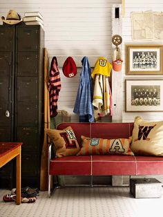 Old metal lockers add to the feel and provide the perfect place to stash sports gear and board games. Other retro accents, such as the warm red couch and the vintage sports team photos, play off the lockers' old-school vibe. Used Lockers, Metal Lockers, Vintage Lockers, Home Design, Interior Design, Interior Decorating, Decorating Ideas, Vintage Room, Vintage Style